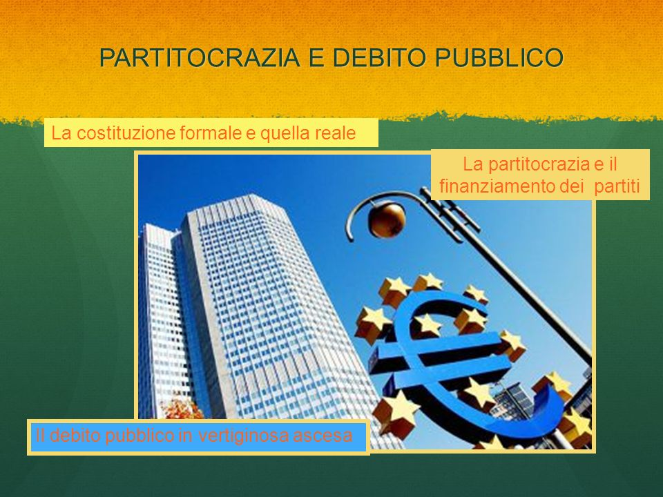 PARTITOCRAZIA E DEBITO PUBBLICO La costituzione formale e quella reale La partitocrazia e il finanziamento dei partiti Il debito pubblico in vertigino