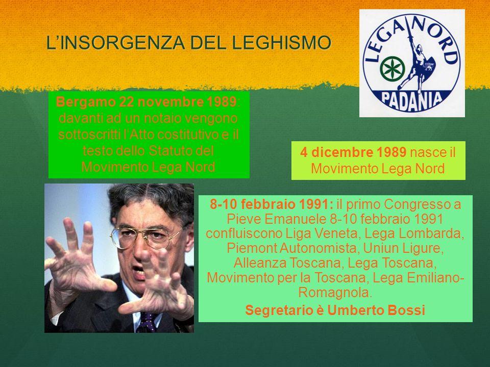 LINSORGENZA DEL LEGHISMO Bergamo 22 novembre 1989: davanti ad un notaio vengono sottoscritti lAtto costitutivo e il testo dello Statuto del Movimento