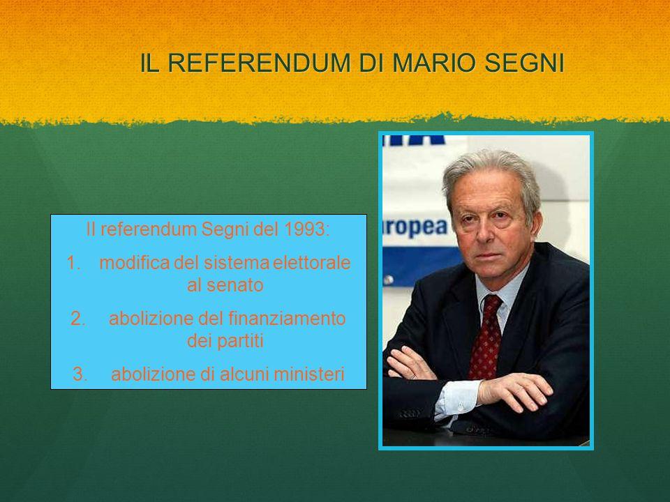 IL REFERENDUM DI MARIO SEGNI Il referendum Segni del 1993: 1.modifica del sistema elettorale al senato 2. abolizione del finanziamento dei partiti 3.