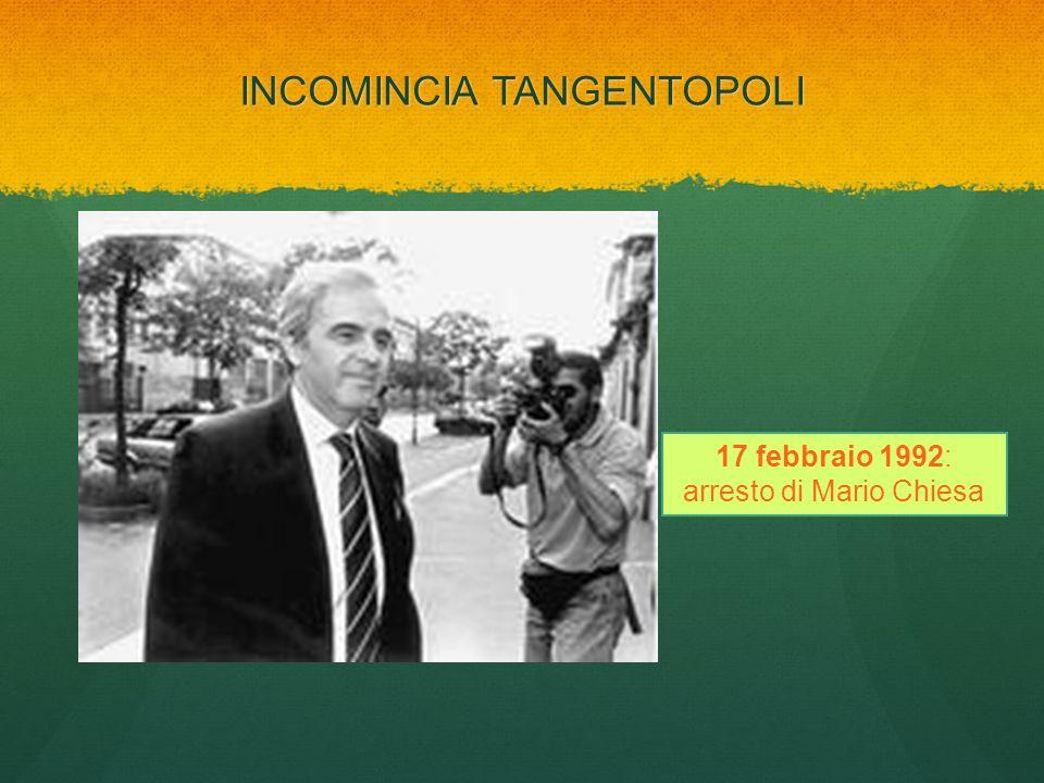 INCOMINCIA TANGENTOPOLI 17 febbraio 1992: arresto di Mario Chiesa