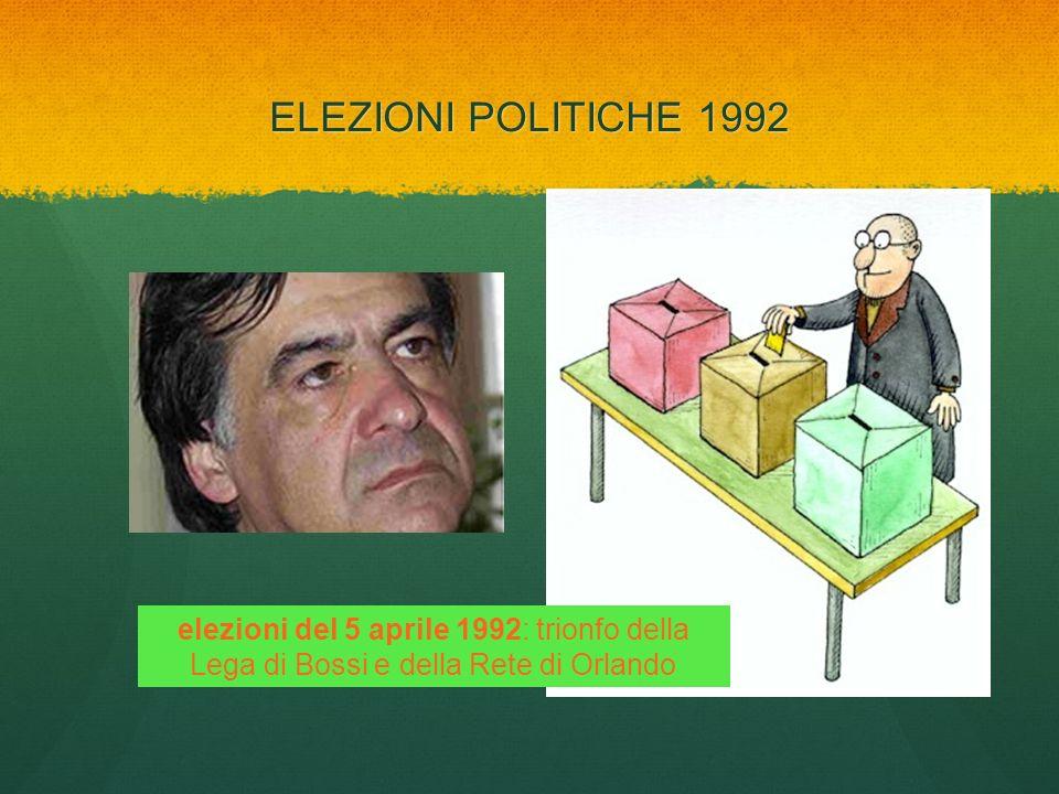ELEZIONI POLITICHE 1992 elezioni del 5 aprile 1992: trionfo della Lega di Bossi e della Rete di Orlando