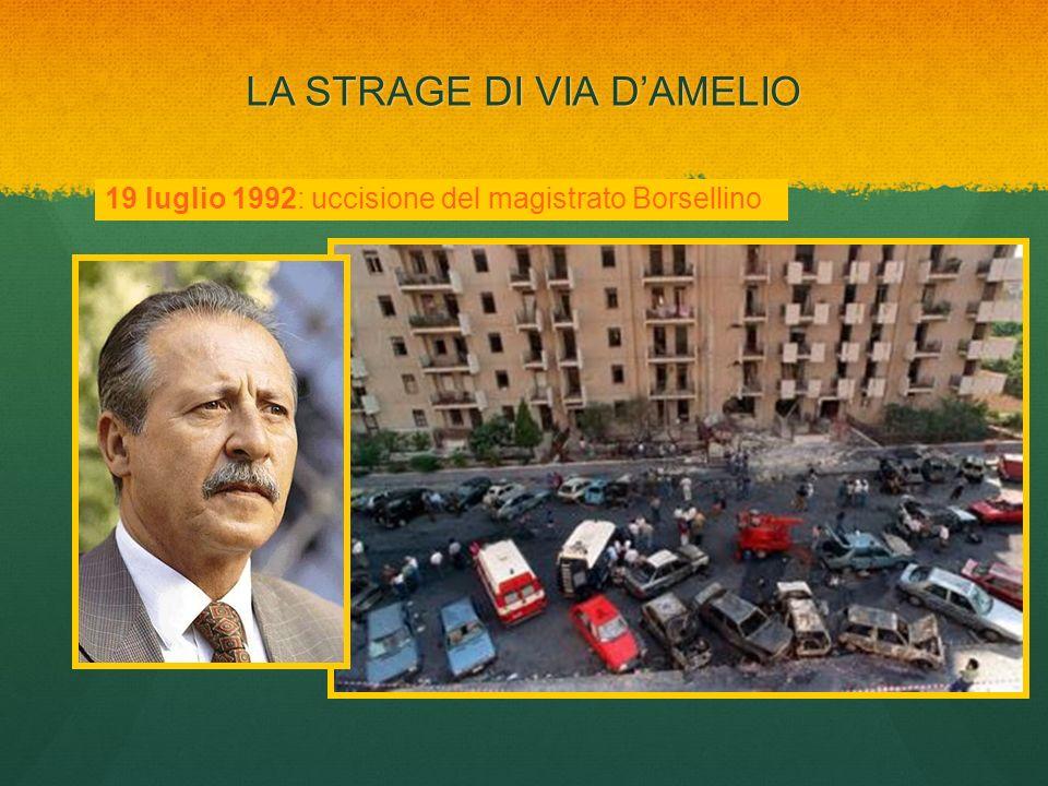 LA STRAGE DI VIA DAMELIO 19 luglio 1992: uccisione del magistrato Borsellino