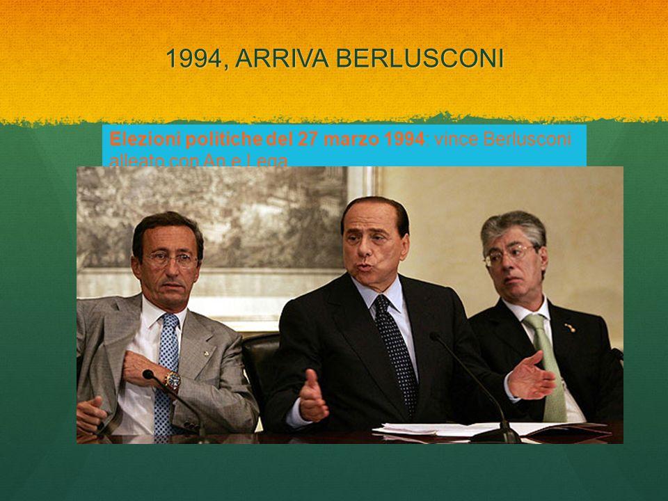 1994, ARRIVA BERLUSCONI Elezioni politiche del 27 marzo 1994: vince Berlusconi alleato con An e Lega