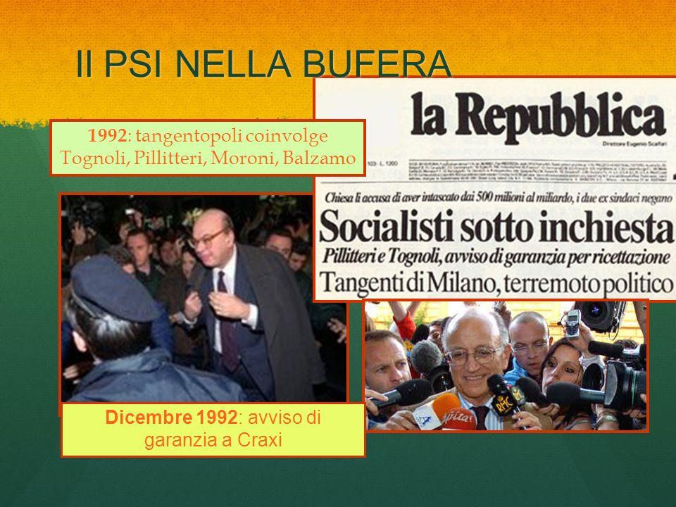Il PSI NELLA BUFERA 1992 : tangentopoli coinvolge Tognoli, Pillitteri, Moroni, Balzamo Dicembre 1992: avviso di garanzia a Craxi
