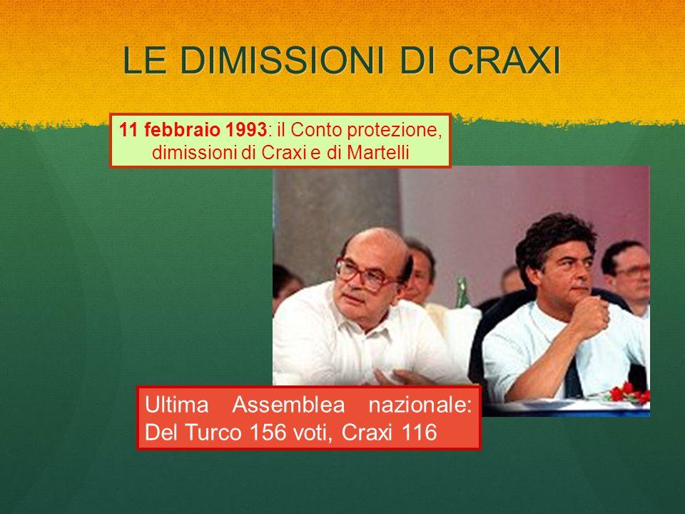 LE DIMISSIONI DI CRAXI Ultima Assemblea nazionale: Del Turco 156 voti, Craxi 116 11 febbraio 1993: il Conto protezione, dimissioni di Craxi e di Marte
