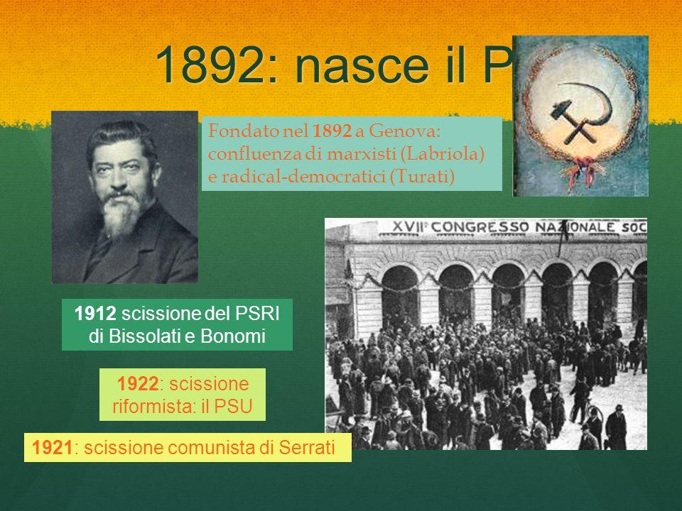 1892: nasce il PSI Fondato nel 1892 a Genova: confluenza di marxisti (Labriola) e radical-democratici (Turati) 1912 scissione del PSRI di Bissolati e
