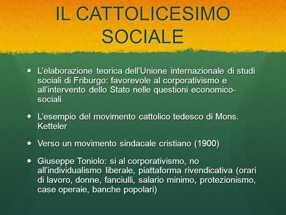 IL CATTOLICESIMO SOCIALE Lelaborazione teorica dellUnione internazionale di studi sociali di Friburgo: favorevole al corporativismo e allintervento de