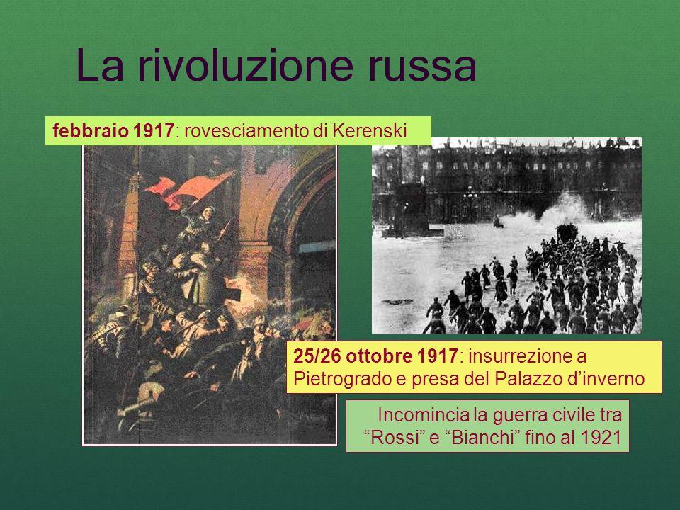 Incomincia la guerra civile tra Rossi e Bianchi fino al 1921 La rivoluzione russa febbraio 1917: rovesciamento di Kerenski 25/26 ottobre 1917: insurre