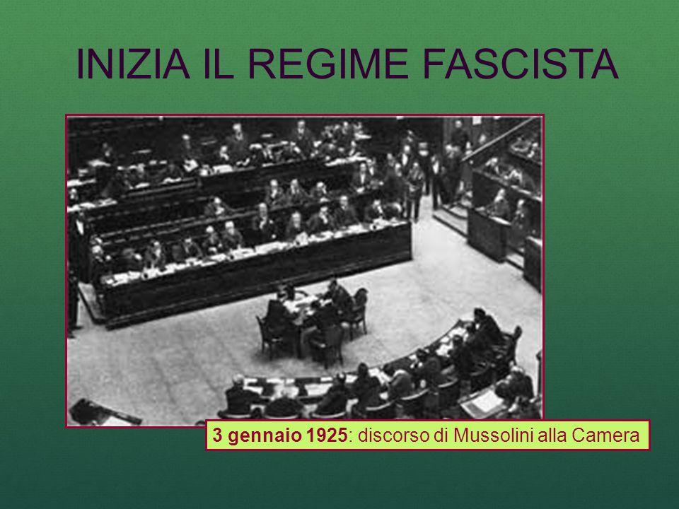 INIZIA IL REGIME FASCISTA 3 gennaio 1925: discorso di Mussolini alla Camera