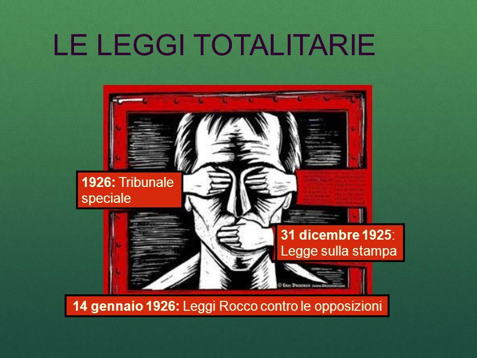 LE LEGGI TOTALITARIE 14 gennaio 1926: Leggi Rocco contro le opposizioni 31 dicembre 1925: Legge sulla stampa 1926: Tribunale speciale