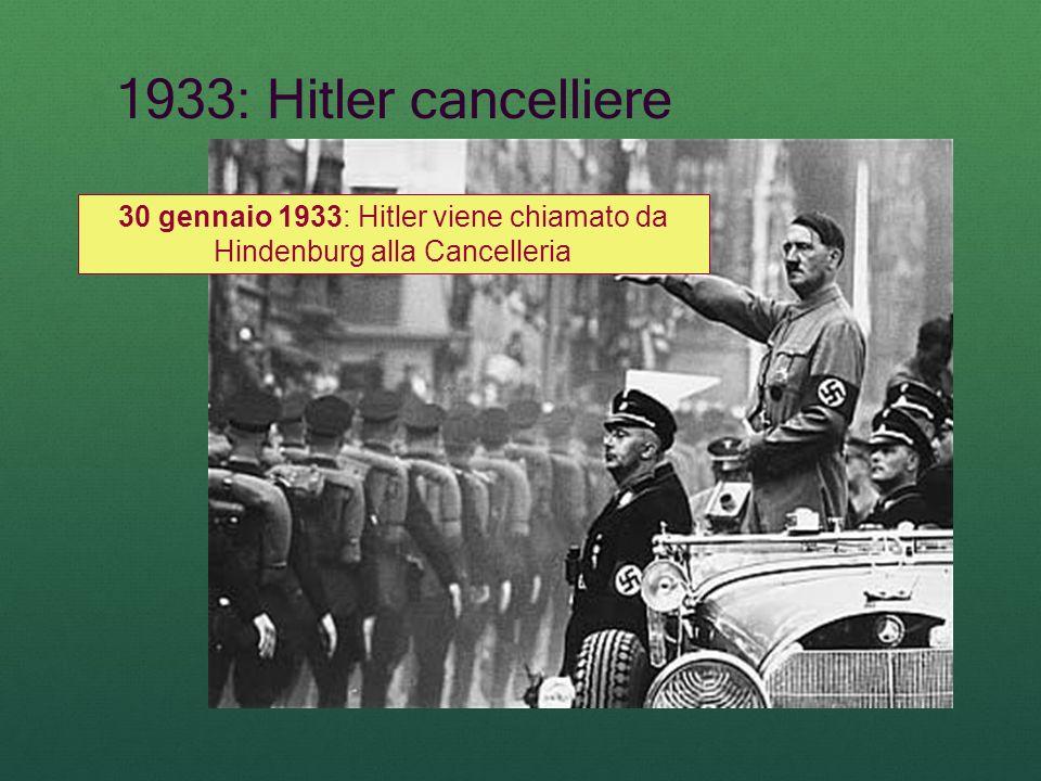 1933: Hitler cancelliere 30 gennaio 1933: Hitler viene chiamato da Hindenburg alla Cancelleria