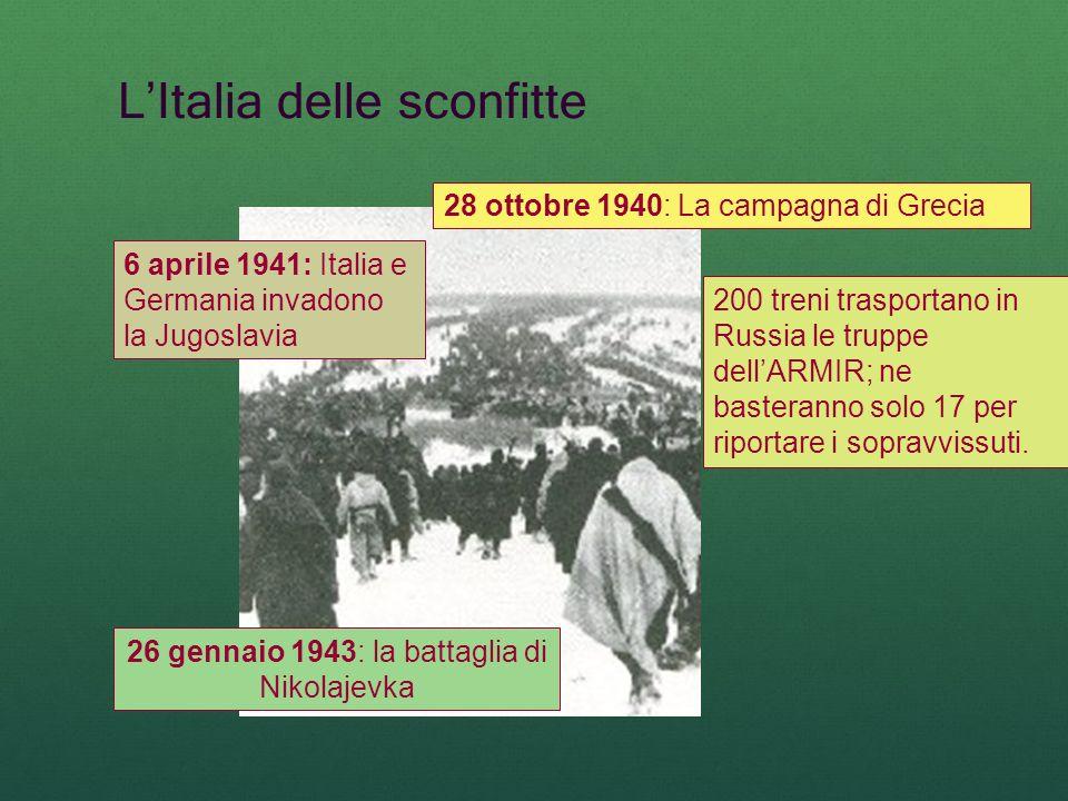 LItalia delle sconfitte 28 ottobre 1940: La campagna di Grecia 6 aprile 1941: Italia e Germania invadono la Jugoslavia 200 treni trasportano in Russia