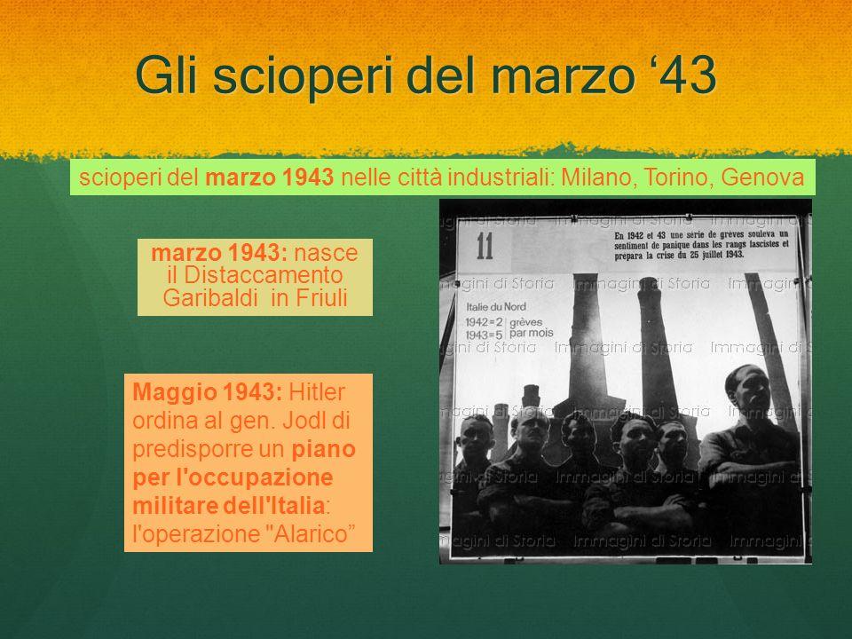Gli scioperi del marzo 43 scioperi del marzo 1943 nelle città industriali: Milano, Torino, Genova marzo 1943: nasce il Distaccamento Garibaldi in Friu