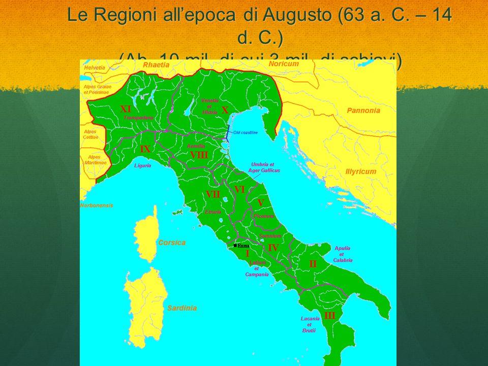 Le Regioni allepoca di Augusto (63 a. C. – 14 d. C.) (Ab. 10 mil, di cui 3 mil. di schiavi)
