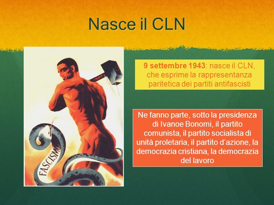 Nasce il CLN 9 settembre 1943: nasce il CLN, che esprime la rappresentanza paritetica dei partiti antifascisti Ne fanno parte, sotto la presidenza di