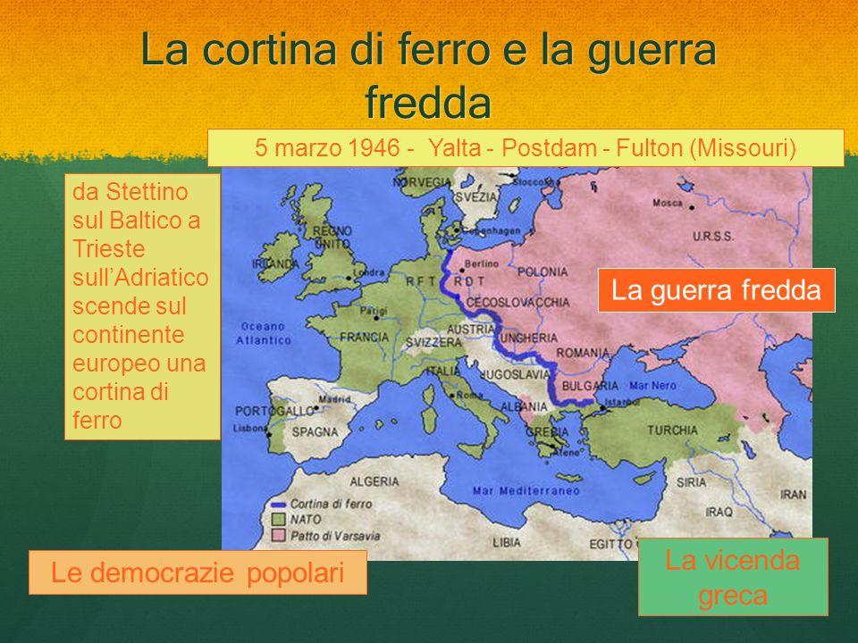 La cortina di ferro e la guerra fredda 5 marzo 1946 - Yalta - Postdam - Fulton (Missouri) da Stettino sul Baltico a Trieste sullAdriatico scende sul c