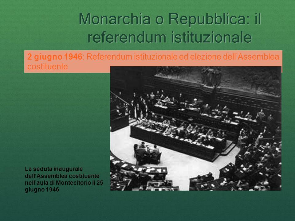 Monarchia o Repubblica: il referendum istituzionale 2 giugno 1946: Referendum istituzionale ed elezione dellAssemblea costituente La seduta inaugurale