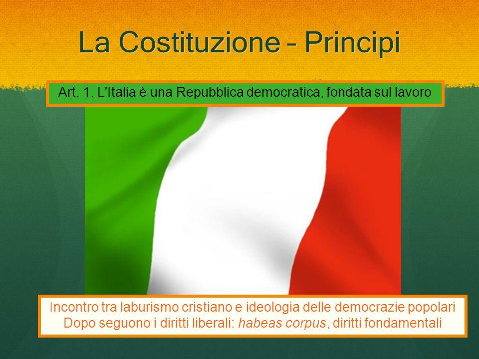 La Costituzione – Principi Art. 1. L'Italia è una Repubblica democratica, fondata sul lavoro Incontro tra laburismo cristiano e ideologia delle democr
