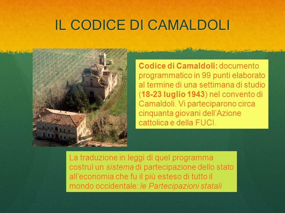 IL CODICE DI CAMALDOLI Codice di Camaldoli: documento programmatico in 99 punti elaborato al termine di una settimana di studio (18-23 luglio 1943) ne