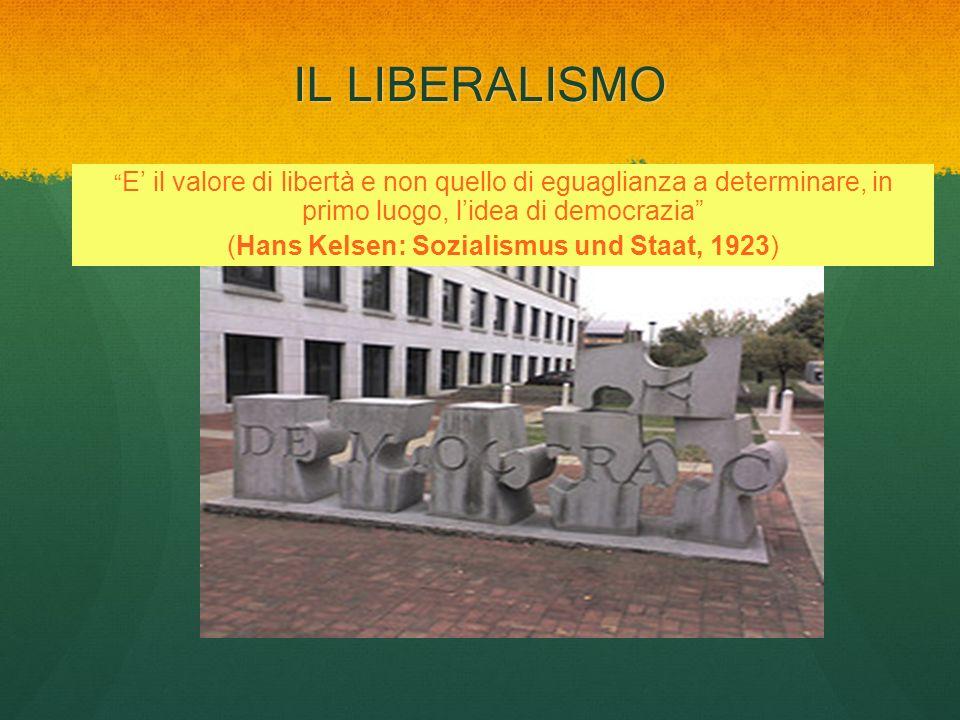 IL LIBERALISMO E il valore di libertà e non quello di eguaglianza a determinare, in primo luogo, lidea di democrazia (Hans Kelsen: Sozialismus und Sta