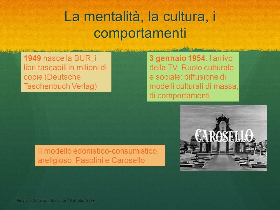 Giovanni Cominelli, Gallarate 16 ottobre 2009 La mentalità, la cultura, i comportamenti 1949 nasce la BUR, i libri tascabili in milioni di copie (Deut