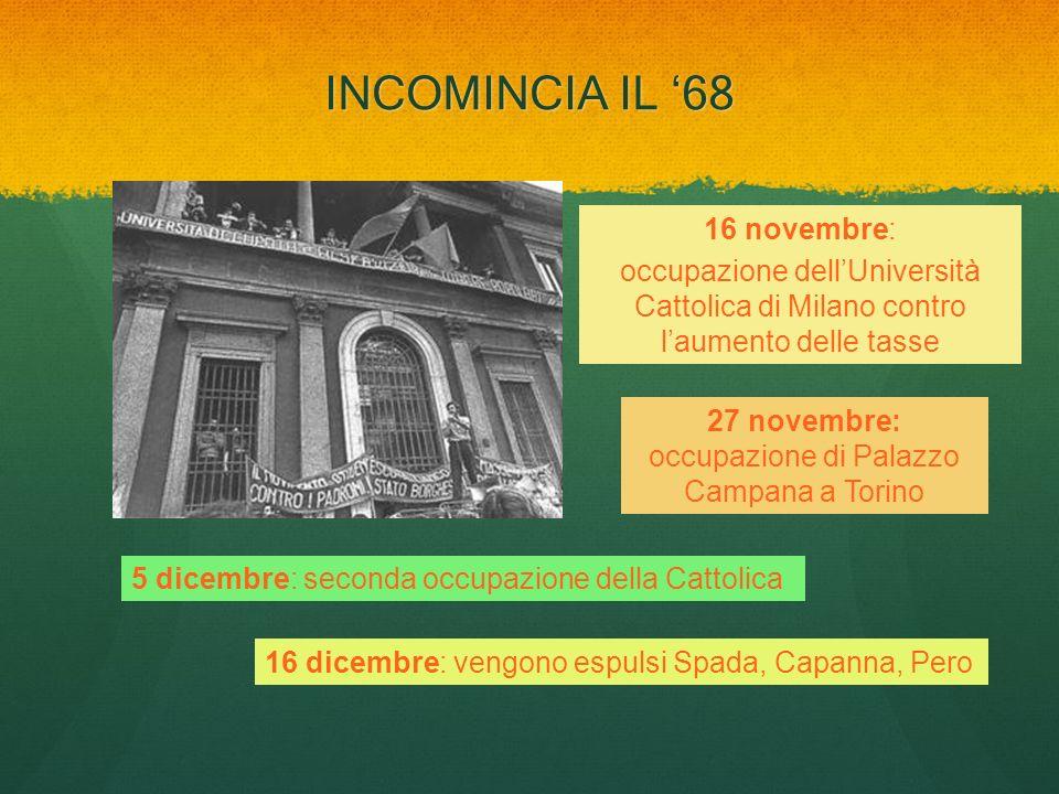 INCOMINCIA IL 68 16 novembre: occupazione dellUniversità Cattolica di Milano contro laumento delle tasse 27 novembre: occupazione di Palazzo Campana a