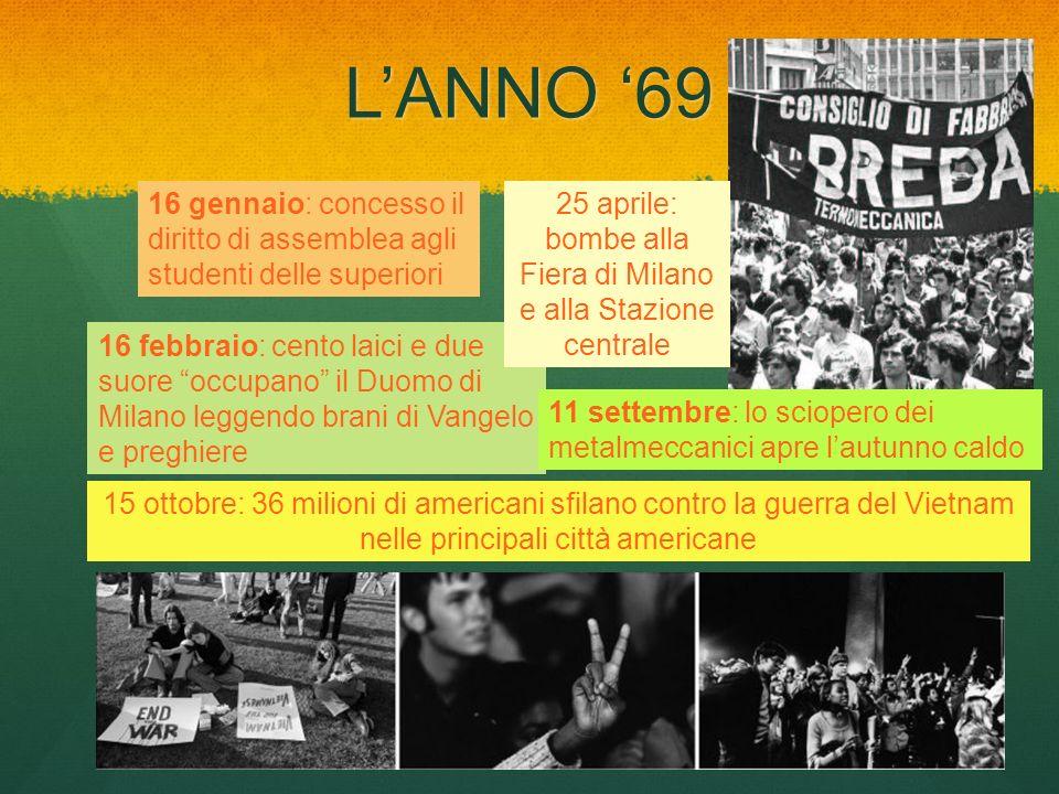 LANNO 69 16 gennaio: concesso il diritto di assemblea agli studenti delle superiori 16 febbraio: cento laici e due suore occupano il Duomo di Milano l