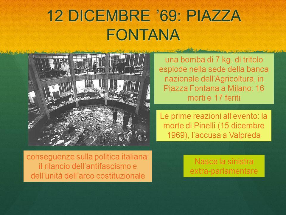 12 DICEMBRE 69: PIAZZA FONTANA una bomba di 7 kg. di tritolo esplode nella sede della banca nazionale dellAgricoltura, in Piazza Fontana a Milano: 16