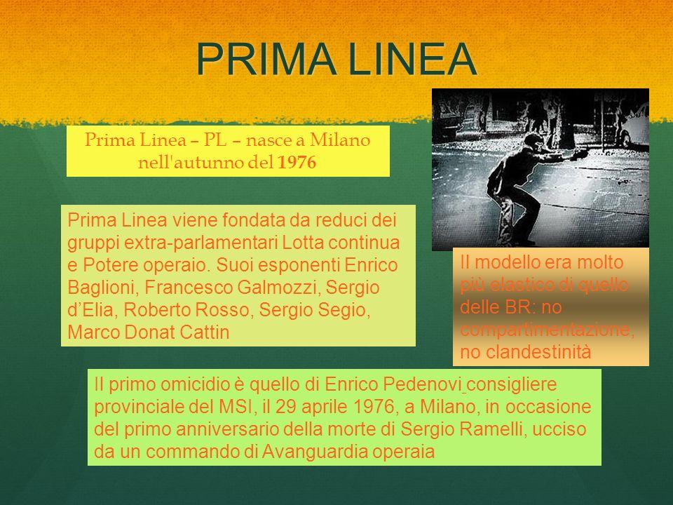 PRIMA LINEA Prima Linea – PL – nasce a Milano nell'autunno del 1976 Prima Linea viene fondata da reduci dei gruppi extra-parlamentari Lotta continua e