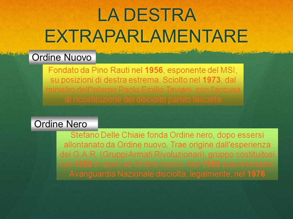 LA DESTRA EXTRAPARLAMENTARE Stefano Delle Chiaie fonda Ordine nero, dopo essersi allontanato da Ordine nuovo. Trae origine dall'esperienza dei G.A.R.