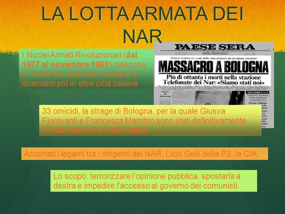 LA LOTTA ARMATA DEI NAR I Nuclei Armati Rivoluzionari (dal 1977 al novembre 1981), nascono a Roma nel Quartiere Trieste e si diramano poi in altre cit