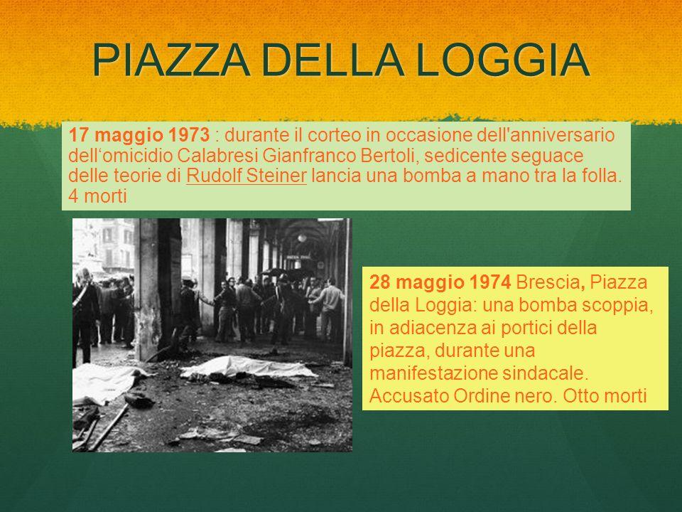 PIAZZA DELLA LOGGIA 17 maggio 1973 : durante il corteo in occasione dell'anniversario dellomicidio Calabresi Gianfranco Bertoli, sedicente seguace del