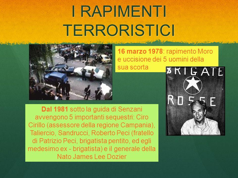 I RAPIMENTI TERRORISTICI 16 marzo 1978: rapimento Moro e uccisione dei 5 uomini della sua scorta Dal 1981 sotto la guida di Senzani avvengono 5 import