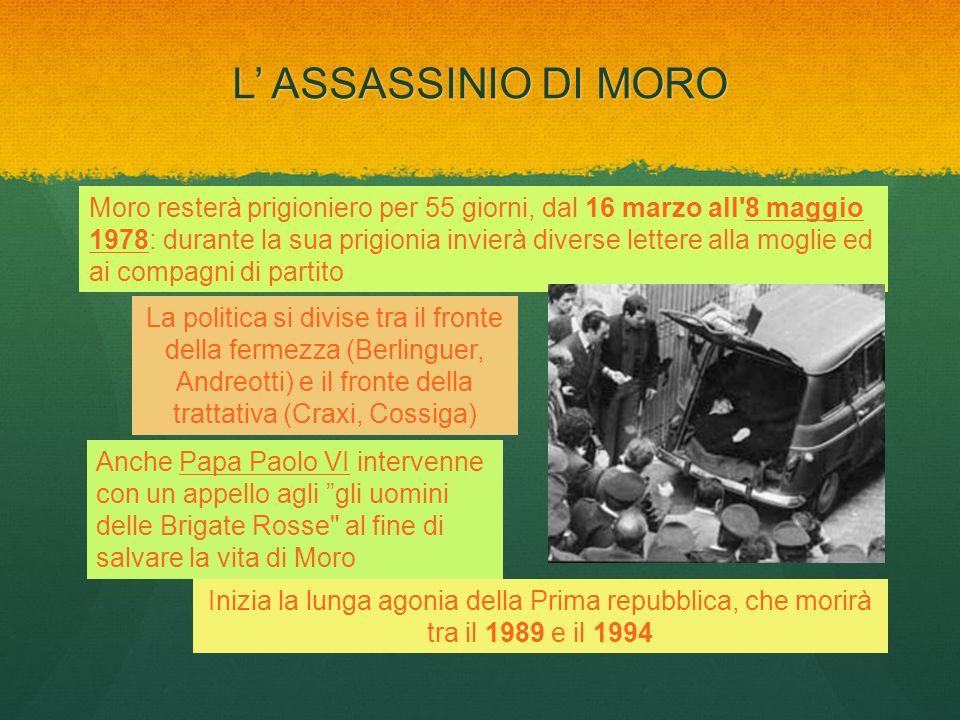 L ASSASSINIO DI MORO Moro resterà prigioniero per 55 giorni, dal 16 marzo all'8 maggio 1978: durante la sua prigionia invierà diverse lettere alla mog