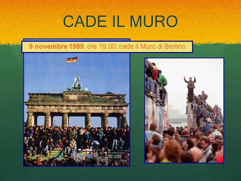 CADE IL MURO 9 novembre 1989, ore 19.00: cade il Muro di Berlino