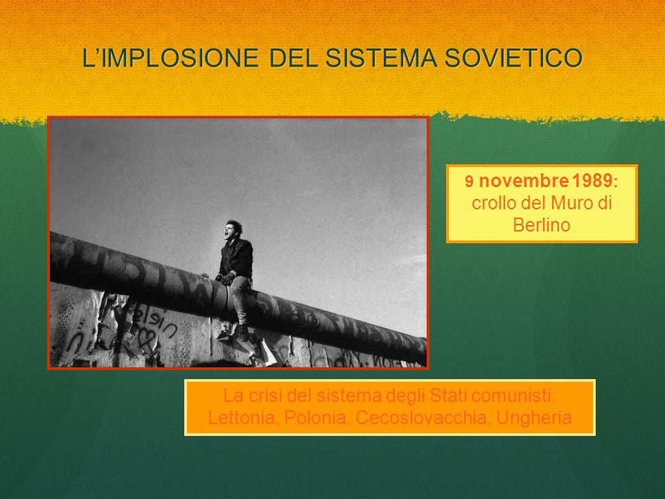 LIMPLOSIONE DEL SISTEMA SOVIETICO 9 novembre 1989 : crollo del Muro di Berlino La crisi del sistema degli Stati comunisti: Lettonia, Polonia, Cecoslov