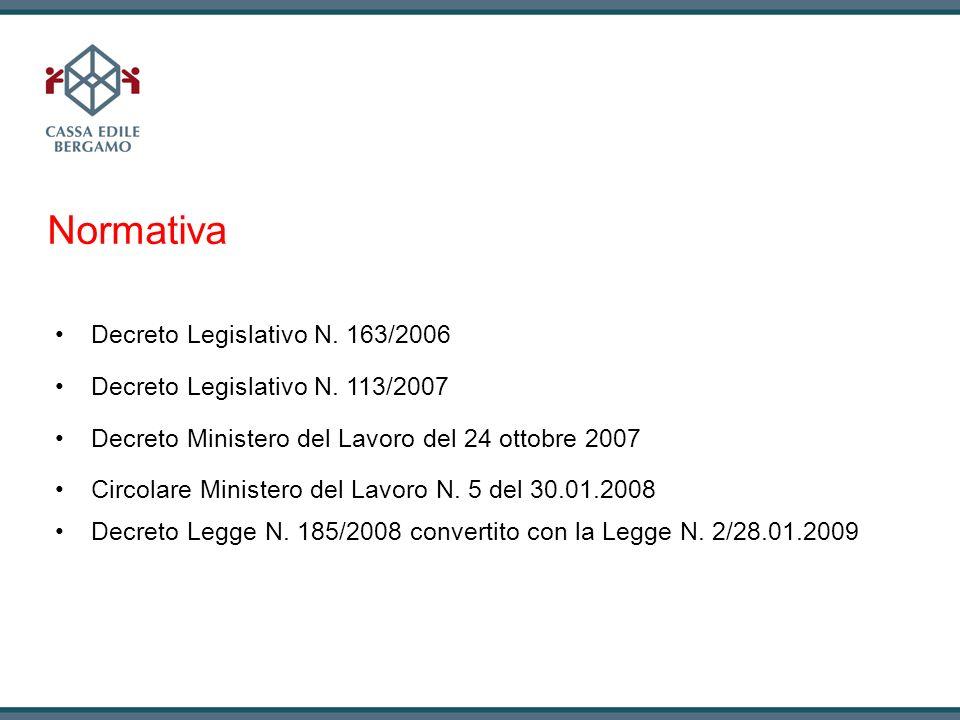 Normativa Decreto Legislativo N. 163/2006 Decreto Legislativo N. 113/2007 Decreto Ministero del Lavoro del 24 ottobre 2007 Circolare Ministero del Lav