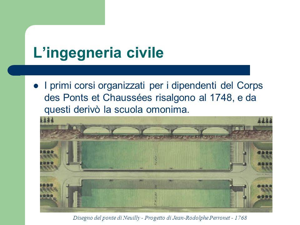 Lingegneria civile I primi corsi organizzati per i dipendenti del Corps des Ponts et Chaussées risalgono al 1748, e da questi derivò la scuola omonima