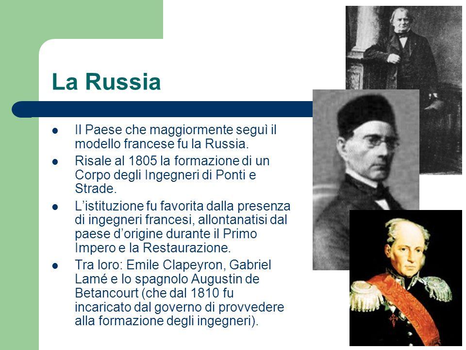 La Russia Il Paese che maggiormente seguì il modello francese fu la Russia. Risale al 1805 la formazione di un Corpo degli Ingegneri di Ponti e Strade