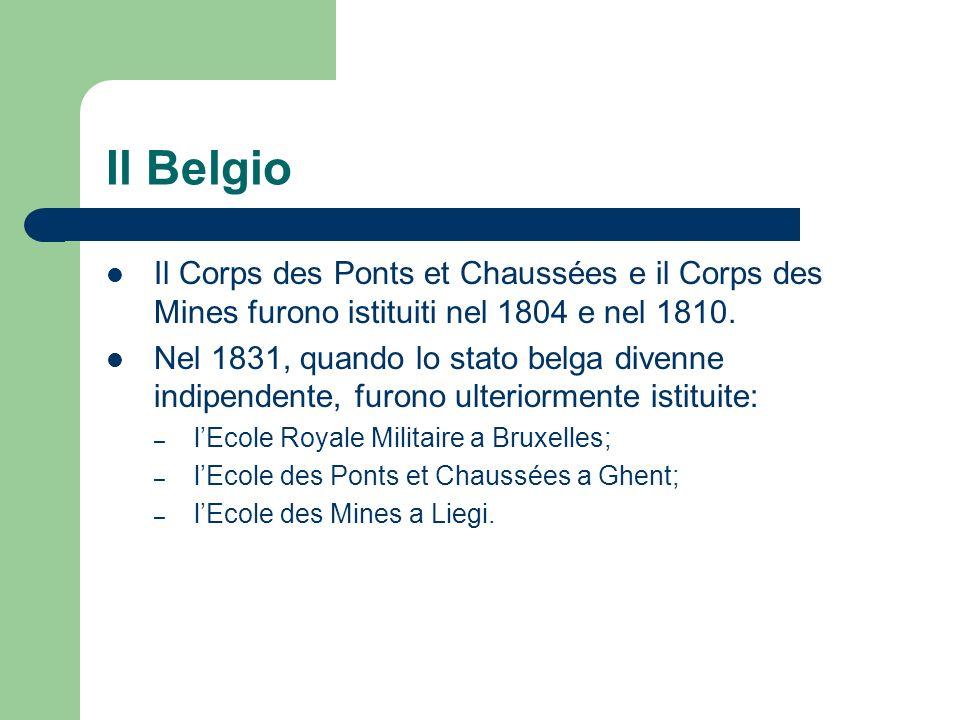 Il Belgio Il Corps des Ponts et Chaussées e il Corps des Mines furono istituiti nel 1804 e nel 1810. Nel 1831, quando lo stato belga divenne indipende