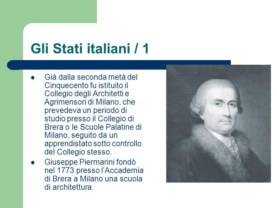 Gli Stati italiani / 1 Già dalla seconda metà del Cinquecento fu istituito il Collegio degli Architetti e Agrimensori di Milano, che prevedeva un peri