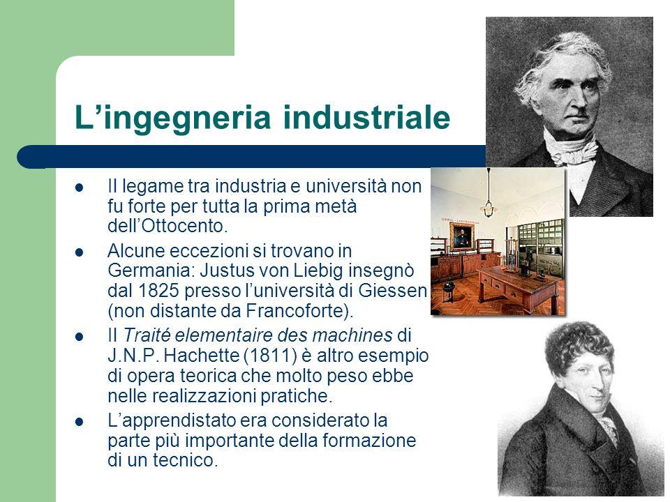 Lingegneria industriale Il legame tra industria e università non fu forte per tutta la prima metà dellOttocento. Alcune eccezioni si trovano in German