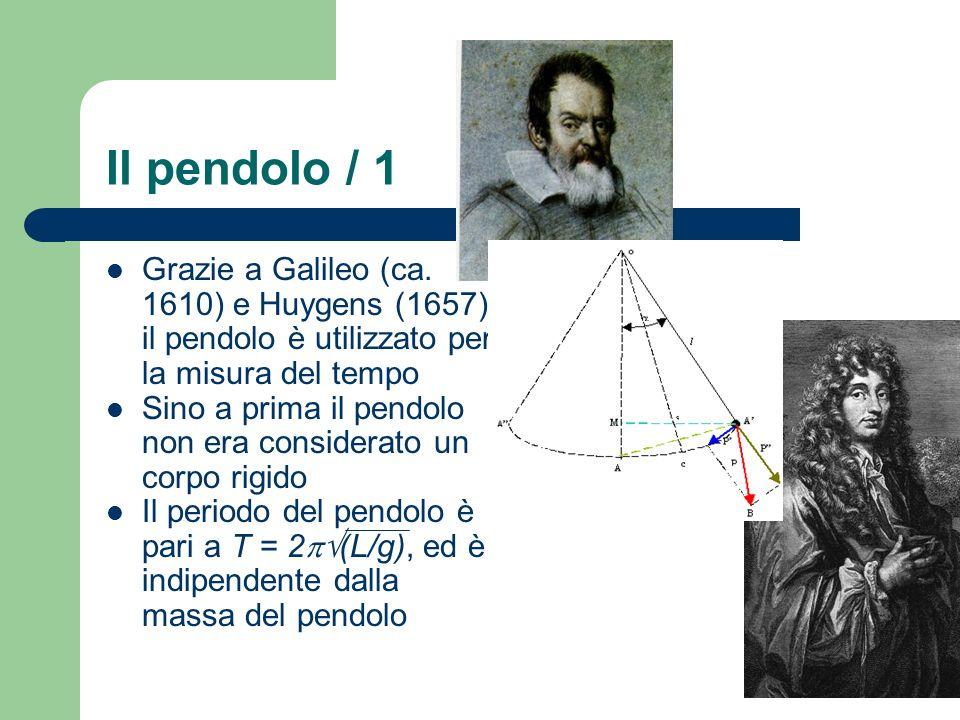 Il pendolo / 1 Grazie a Galileo (ca. 1610) e Huygens (1657) il pendolo è utilizzato per la misura del tempo Sino a prima il pendolo non era considerat