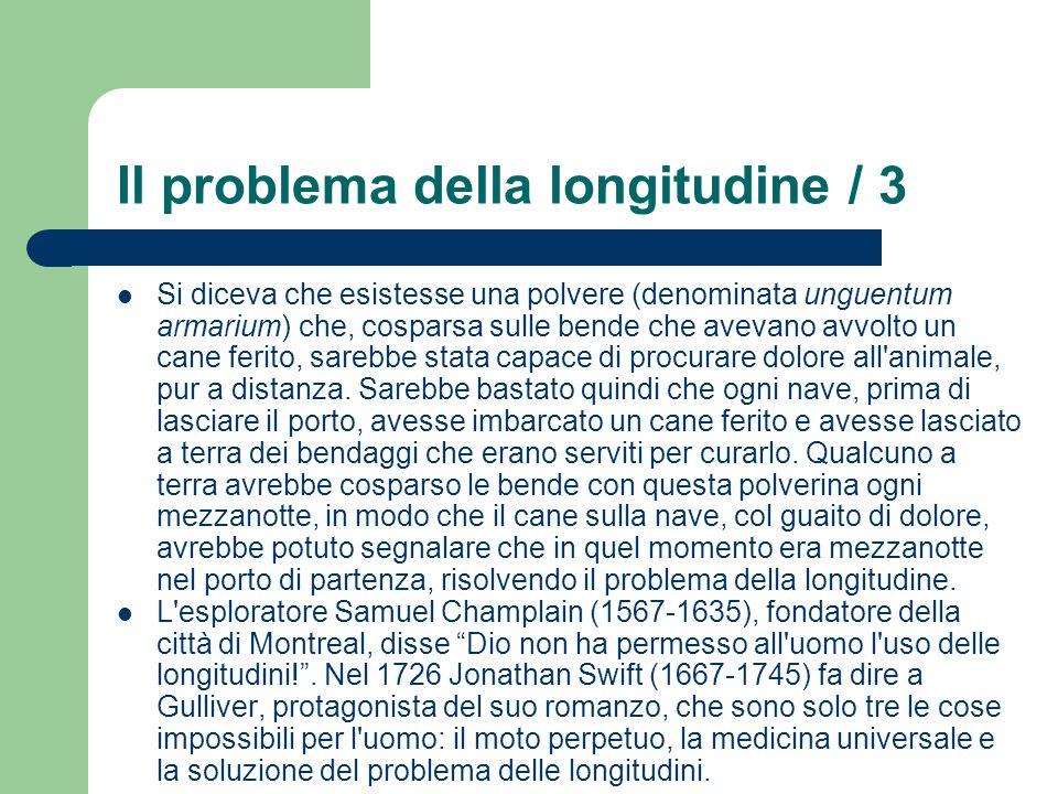 Il problema della longitudine / 3 Si diceva che esistesse una polvere (denominata unguentum armarium) che, cosparsa sulle bende che avevano avvolto un