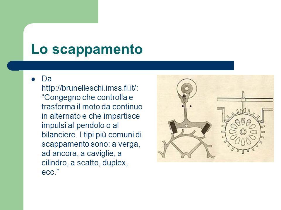 Lo scappamento Da http://brunelleschi.imss.fi.it/: Congegno che controlla e trasforma il moto da continuo in alternato e che impartisce impulsi al pen