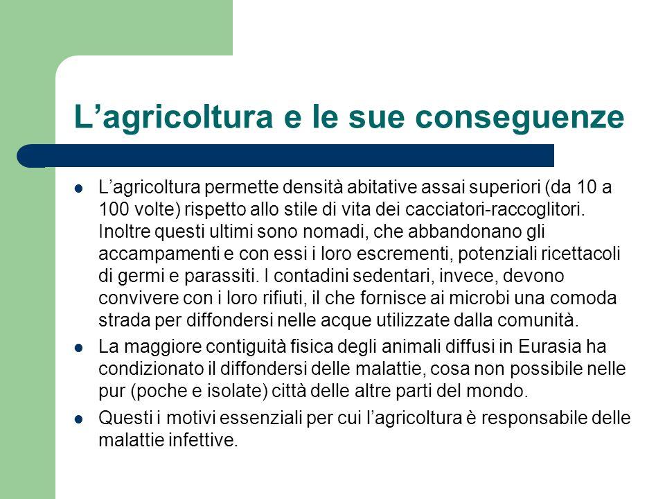 Lagricoltura e le sue conseguenze Lagricoltura permette densità abitative assai superiori (da 10 a 100 volte) rispetto allo stile di vita dei cacciato
