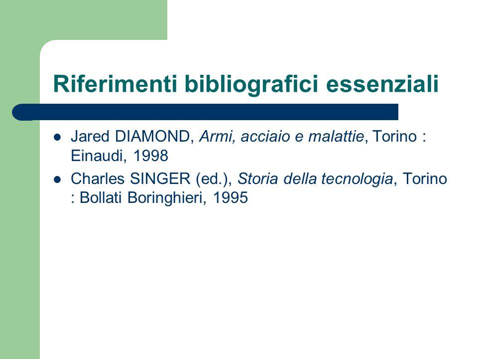 Riferimenti bibliografici essenziali Jared DIAMOND, Armi, acciaio e malattie, Torino : Einaudi, 1998 Charles SINGER (ed.), Storia della tecnologia, To