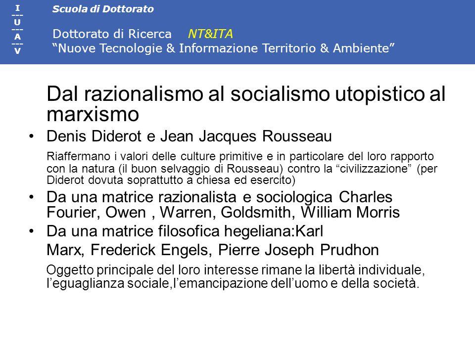 Scuola di Dottorato Dottorato di Ricerca NT&ITA Nuove Tecnologie & Informazione Territorio & Ambiente I --- U --- A --- V Dal razionalismo al socialis