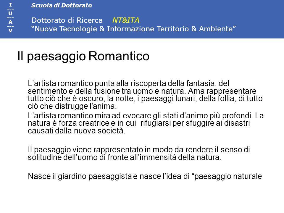 Scuola di Dottorato Dottorato di Ricerca NT&ITA Nuove Tecnologie & Informazione Territorio & Ambiente I --- U --- A --- V Il paesaggio Romantico Larti