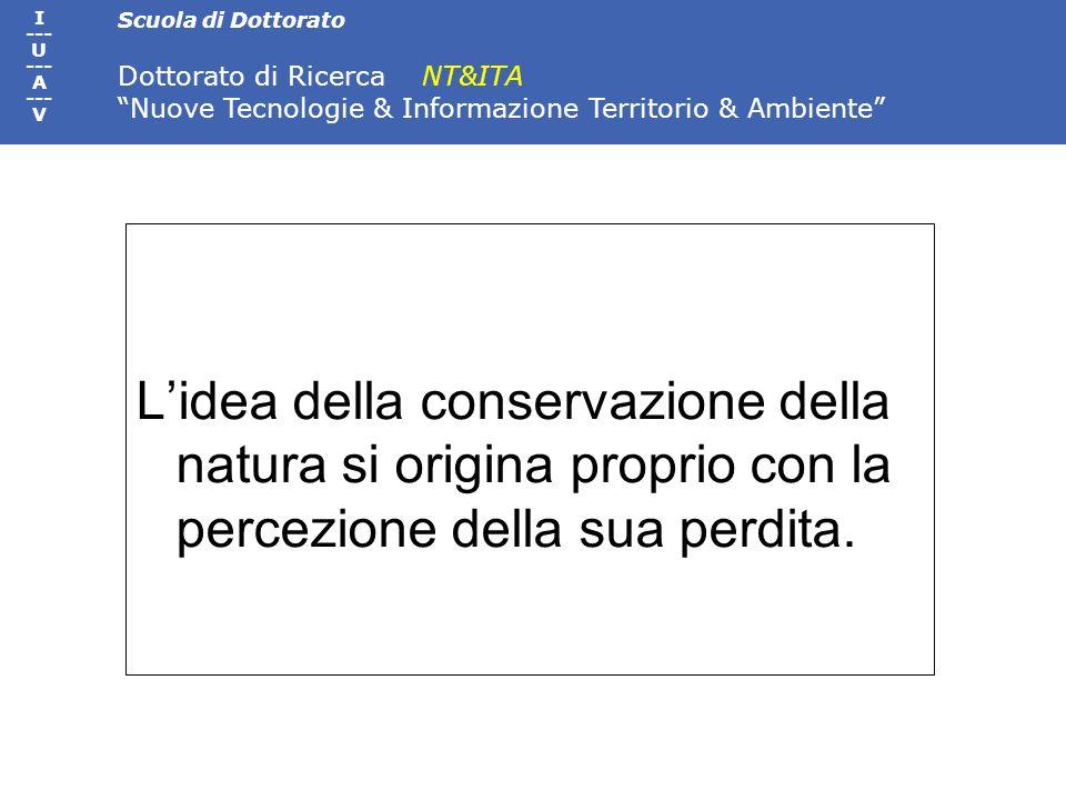 Scuola di Dottorato Dottorato di Ricerca NT&ITA Nuove Tecnologie & Informazione Territorio & Ambiente I --- U --- A --- V Lidea della conservazione de